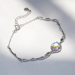 *NEW 925 Sterling Silver Moonstone Bracelet
